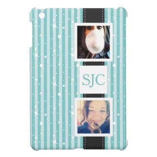 ガーリーな名前入りな写真およびイニシャルは縞で飾ります iPad MINI CASE