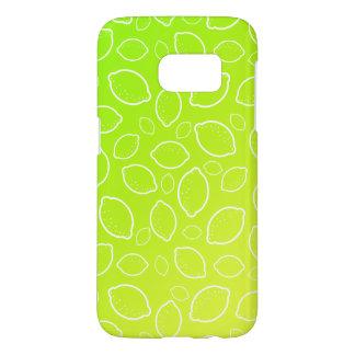ガーリーな夏新しい緑の黄色いレモンパターン SAMSUNG GALAXY S7 ケース