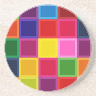 ガーリーな多色のな正方形およびストライプ コースター