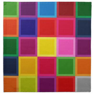 ガーリーな多色のな正方形およびストライプ ナプキンクロス