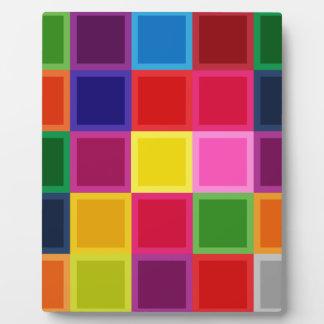 ガーリーな多色のな正方形およびストライプ フォトプラーク
