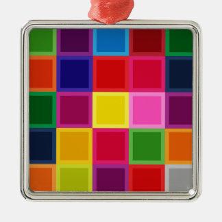 ガーリーな多色のな正方形およびストライプ メタルオーナメント