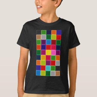 ガーリーな多色のな正方形およびストライプ Tシャツ