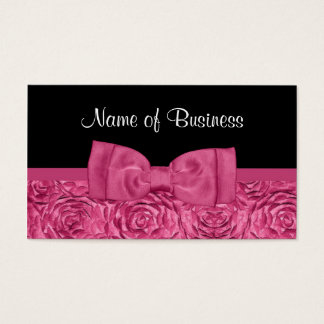 ガーリーな弓とのシックなピンクおよび黒いバラの花柄 名刺