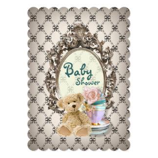 ガーリーな弓テディー・ベアのベビーシャワー招待状 カード