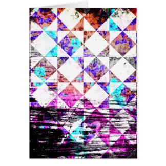 ガーリーな水のピンクのグランジな白いダイヤモンドのチェッカーボード カード