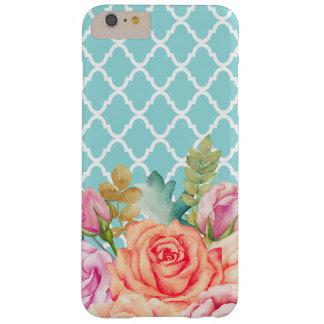 ガーリーな水の青いクローバーのモモのばら色の花柄 BARELY THERE iPhone 6 PLUS ケース