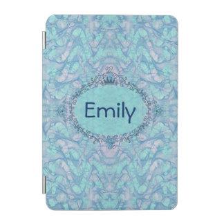 ガーリーな水の青い絞り染めあなたのモノグラムの名前のiPad iPad Miniカバー