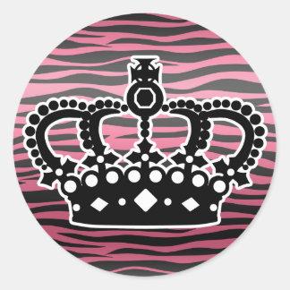 ガーリーな王女のピンクおよび黒いシマウマのプリント ラウンドシール