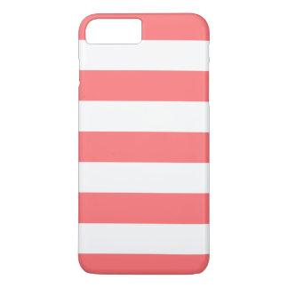 ガーリーな珊瑚の白のストライプパターン iPhone 8 PLUS/7 PLUSケース