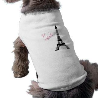 ガーリーな白黒フランス人のスタイルのエッフェル塔 ペット服