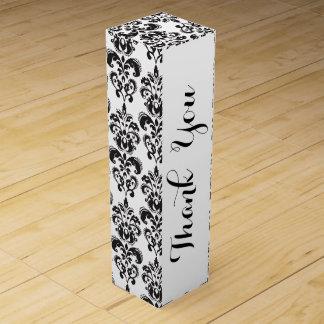 ガーリーな白黒ヴィンテージのダマスク織パターン2 ワインギフトボックス