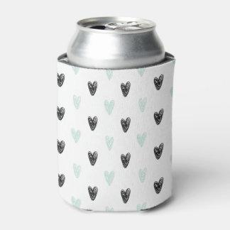 ガーリーな真新しく及び黒いハートの落書きパターンは冷却できます 缶クーラー
