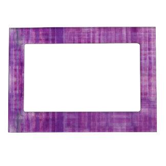 ガーリーな紫色のストライプ マグネットフレーム