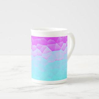ガーリーな紫色のターコイズのグラデーションなモザイク《写真》ぼけ味パターン ボーンチャイナカップ