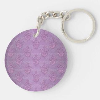 ガーリーな紫色のラベンダーのダマスク織 キーホルダー