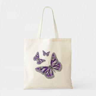 ガーリーな紫色の灰色の蝶 トートバッグ