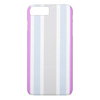 ガーリーな紫色の灰色の青い縞パターン iPhone 8 PLUS/7 PLUSケース