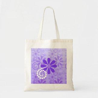 ガーリーな紫色の花のレトロの花 トートバッグ