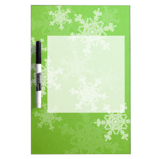 ガーリーな緑およびホワイトクリスマスの雪片 ホワイトボード