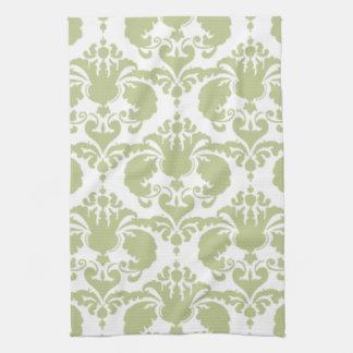 ガーリーな緑のダマスク織の台所タオル キッチンタオル