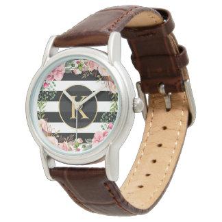 ガーリーな花の包む白黒のストライプのモノグラム 腕時計