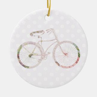 ガーリーな花の自転車 セラミックオーナメント