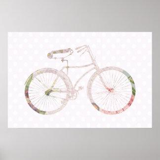 ガーリーな花の自転車 ポスター