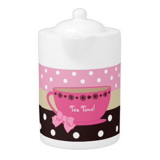 ガーリーな茶時間ティーカップのピンクおよびブラウンの水玉模様の弓