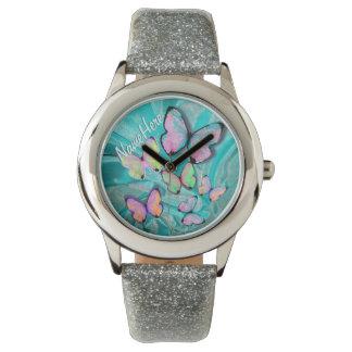 ガーリーな蝶腕時計! 彼女の名前を加えて下さい! 腕時計