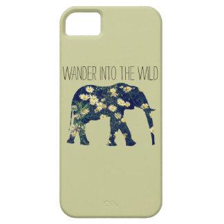 ガーリーな象のシルエットのWanderlustのデイジーのヒップスター iPhone SE/5/5s ケース
