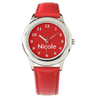 ガーリーな赤いハート 腕時計