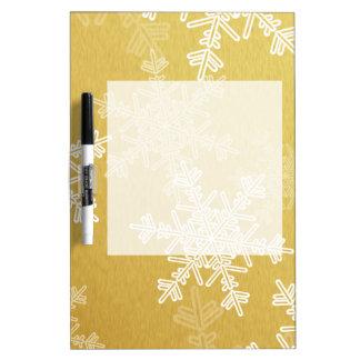 ガーリーな金およびホワイトクリスマスの雪片 ホワイトボード