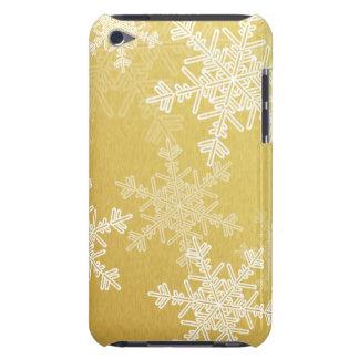 ガーリーな金およびホワイトクリスマスの雪片 Case-Mate iPod TOUCH ケース