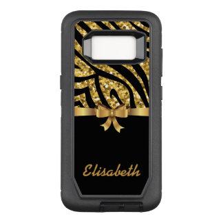 ガーリーな金ゴールドのグリッターのシマウマの黒の金ゴールドの弓モノグラム オッターボックスディフェンダーSamsung GALAXY S8 ケース