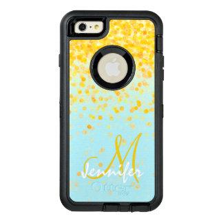 ガーリーな金黄色い紙吹雪のターコイズのグラデーションな名前 オッターボックスディフェンダーiPhoneケース