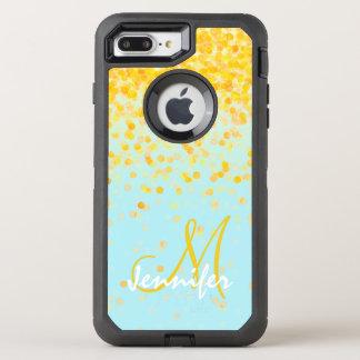 ガーリーな金黄色い紙吹雪のターコイズのグラデーションな名前 オッターボックスディフェンダーiPhone 7 PLUS ケース