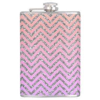 ガーリーな銀及びピンクのシェブロンのカスタムなティール(緑がかった色)のフラスコ フラスク