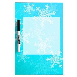 ガーリーな青およびホワイトクリスマスの雪片 ホワイトボード