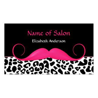 ガーリーな髭のピンクおよび黒いヒョウのヘアーサロン スタンダード名刺