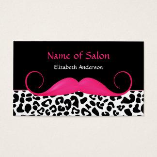 ガーリーな髭のピンクおよび黒いヒョウのヘアーサロン 名刺