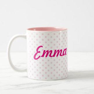 ガーリーな♥のマグの♥のエマの白いピンクの水玉模様 ツートーンマグカップ