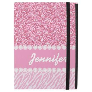 """ガーリーな、ピンクのグリッター、シマウマは、あなたの名前縞で飾ります iPad PRO 12.9"""" ケース"""