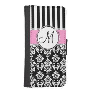 ガーリーな、ピンク、黒いダマスク織あなたのモノグラムのイニシャル iPhoneSE/5/5sウォレットケース