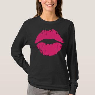 ガーリーなTシャツ、女性のTシャツ、ピンクの唇 Tシャツ