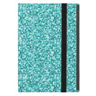 ガーリー、印刷されるおもしろいの水の青いグリッター iPad MINI ケース