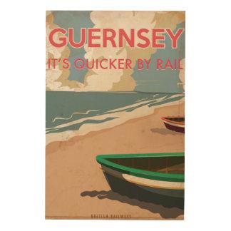 ガーンジーのヴィンテージロコモーティブ旅行ポスター ウッドウォールアート