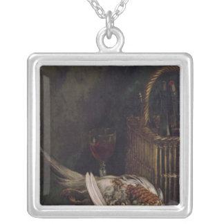 キジが付いているクロード・モネ|の静物画、c.1861 シルバープレートネックレス