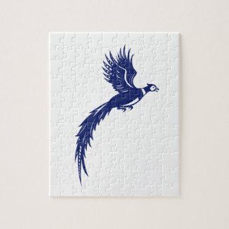 キジの鳥の家禽の飛んでいるな側面のレトロ ジグソーパズル