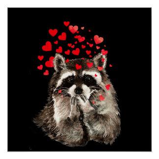 キスおもしろいな愛ハートを吹いているかわいいアライグマ ポスター